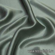Шелк атлас стрейч (о) серо-зеленый - итальянские ткани Тессутидея арт. 10-2042
