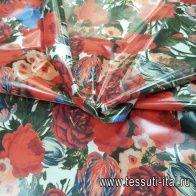 Плащевая с  водоотталкивающим покрытием (н) красно-сине-зеленый цветочный орнамент - итальянские ткани Тессутидея