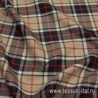 Костюмная шотландка (н) черно-бежево-красная клетка - итальянские ткани Тессутидея арт. 05-4044
