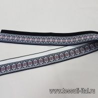 Подвяз 78*4,5см черно-бело-красный орнамент - итальянские ткани Тессутидея арт. F-5355