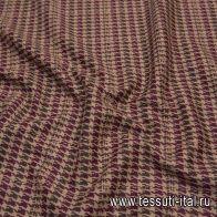 Трикотаж (н) бежево-бордово-коричневая гусиная лапка - итальянские ткани Тессутидея
