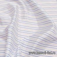 Подкладочная жаккард (н) бело-голубая полоска - итальянские ткани Тессутидея арт. 08-1122