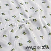 Шифон (н) мелкий цветочный орнамент на светло-мятном - итальянские ткани Тессутидея