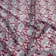 Шелк атлас купон (1,05м) (н) черно-белый растительный рисунок на бордовом - итальянские ткани Тессутидея