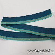 Подвяз с люрексом 100*4см бирюзовый - итальянские ткани Тессутидея арт. F-5353