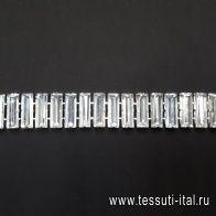 Цепь металл серебро с крупными стразами Divine - итальянские ткани Тессутидея