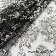 Сетка с вышивкой из люрекса (н) серебро на черном - итальянские ткани Тессутидея