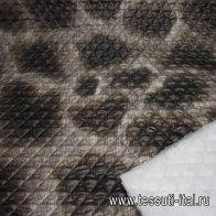 Плащевая стежка (н) бело-коричневый орнамент ш-150см - итальянские ткани Тессутидея арт. 11-0328