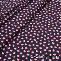Хлопок стрейч фактурный (н) красно-белый геометрический орнамент на темно-синем - итальянские ткани Тессутидея