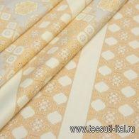 Хлопок купон (0,43м) (н) бежевый орнамент на молочном в стиле Versace - итальянские ткани Тессутидея