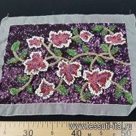 Аппликация растительный орнамент на фиолетовых пайетках на белой органзе 21*30см - итальянские ткани Тессутидея