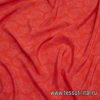 Крепдешин (н) розовый растительный рисунок на оранжевом - итальянские ткани Тессутидея арт. 10-2189