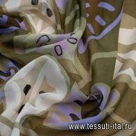 Маркизет (н) стилизованные листья на коричневом - итальянские ткани Тессутидея