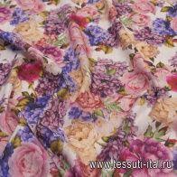 Лен (н) цветочный рисунок на белом в стиле Bluemarine - итальянские ткани Тессутидея