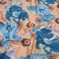 Хлопок (н) крупный сине-оранжевый цветочный принт на молочном - итальянские ткани Тессутидея