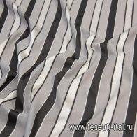 Батист (н) серый с черно-белой жаккардовой полоской - итальянские ткани Тессутидея