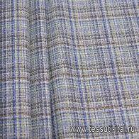 Костюмная (н) бело-коричнево-зелено-голубая стилизованная клетка - итальянские ткани Тессутидея арт. 05-3996