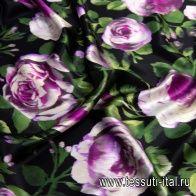 Шелк кади (н) розовые пионы на черном - итальянские ткани Тессутидея арт. 10-1787