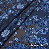 Органза филькупе с люрексом купон (1,75м) (н) синий орнамент на синем - итальянские ткани Тессутидея арт. 03-6428