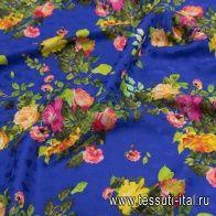 Шелк дама (н) цветочный рисунок на синем в стиле Ferragamo - итальянские ткани Тессутидея