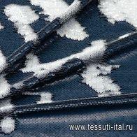 Трикотаж расшитый двусторонними пайетками (о) серо-белый - итальянские ткани Тессутидея