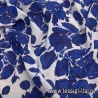 Органза крэш (н) синий цветочный рисунок на белом в стиле Dior - итальянские ткани Тессутидея