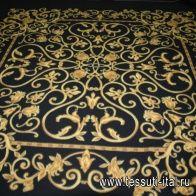 Флис double купон (1,6м) (н) золотые вензеля на черном ш-180см - итальянские ткани Тессутидея