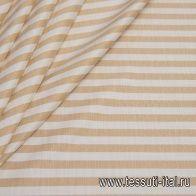 Лен (н) бело-бежевая поперечная полоска - итальянские ткани Тессутидея