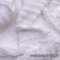 Плательная сетка с рюшами(о) белая - итальянские ткани Тессутидея