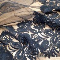 Плательная сетка с вышивкой (о) черная Ermanno Scervino - итальянские ткани Тессутидея