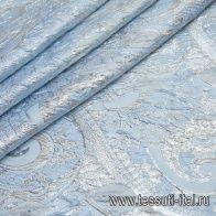 Жаккард матлассе с люрексом (н) серебрянно-голубой орнамент - итальянские ткани Тессутидея