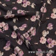 Крепдешин (н) цветочный рисунок на черно-коричневой стилизованной клетке - итальянские ткани Тессутидея