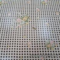 Шифон (н) цветочный рисунок на черно-белой клетке - итальянские ткани Тессутидея