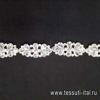 Элемент  декоративный металл серебро с крупными стразами Divine - итальянские ткани Тессутидея