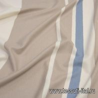 Плательная купон (1,2м) (н) сине-бежевые полосы на молочном Loro Piana - итальянские ткани Тессутидея