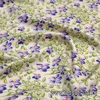 Шелк атлас (н) сиренево-зеленый растительный рисунок - итальянские ткани Тессутидея