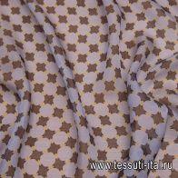 Маркизет (н) коричнево-желтый геометрический принт на светло-сиреневом - итальянские ткани Тессутидея