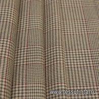 Костюмная (н) бежево-зелено-бордовая стилизованная клетка - итальянские ткани Тессутидея арт. 05-3986