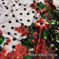 Шелк атлас стрейч (н) цветочный рисунок, горох и звериный принт в стиле D&G - итальянские ткани Тессутидея