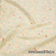 Крепдешин (н) стилизованные шары на светло-мятном - итальянские ткани Тессутидея