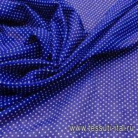 Батист (н) белый горох на темно-синем - итальянские ткани Тессутидея