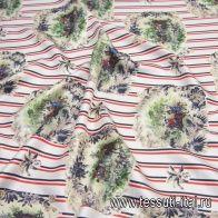 Шелк твил (н) элементы охоты на красно-черно-белой стилизованной полоске в стиле Fendi - итальянские ткани Тессутидея арт. 10-2206