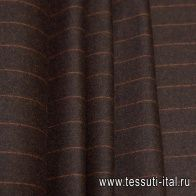 Костюмная (н) оранжевая полоска на темно-коричневом меланже Loro Piana - итальянские ткани Тессутидея