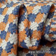 Жаккард (н) сине-бело-оранжевый орнамент - итальянские ткани Тессутидея арт. 03-5452