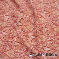 Сорочечная стрейч (н) красно-оранжевый восточный рисунок  - итальянские ткани Тессутидея