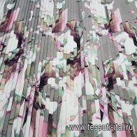 Плиссе (н) крупный акварельный орнамент на сером - итальянские ткани Тессутидея