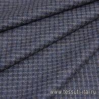 Костюмная твид (н) сине-бежевая клетка - итальянские ткани Тессутидея