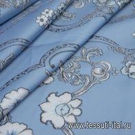 Жаккард матлассе с люрексом (н) черно-белый орнамент на голубом - итальянские ткани Тессутидея