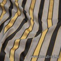 Батист (н) серый с черно-желтой жаккардовой полоской - итальянские ткани Тессутидея