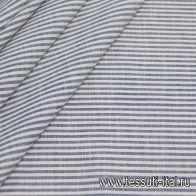 Лен (н) сине-молочная полоска - итальянские ткани Тессутидея